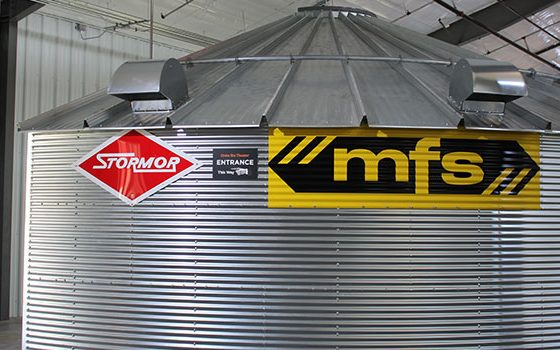 A Grainbin that houses the theater viewing room.