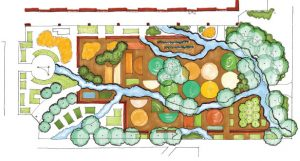 overhead plan of landscaped garden.